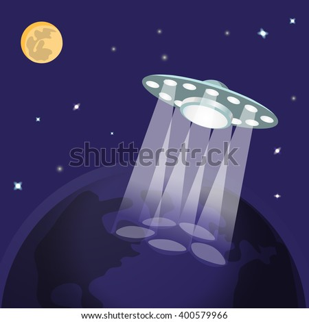 UFO with light beam landing to planet earth, moon, stars. Flying saucer. Alien Spaceship invasion. UFO with aliens landing to earth. Unidentified spaceship abduction of people. Vector illustration - stock vector