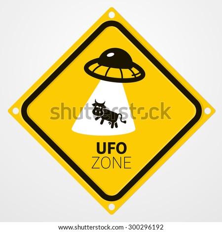 UFO zone warning sign - stock vector