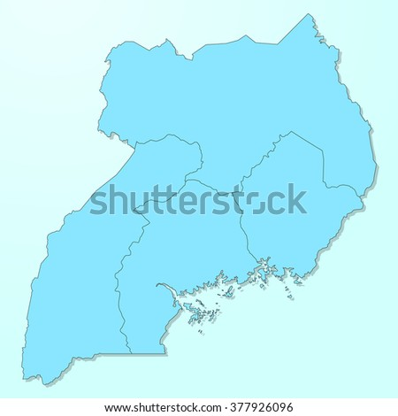 Uganda blue map on degraded background vector - stock vector