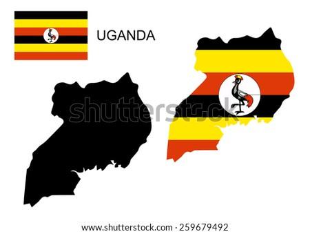 Uganda map and flag vector, Uganda map, Uganda flag - stock vector