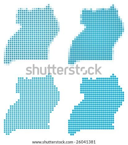 Uganda map mosaic set. Isolated on white background. - stock vector