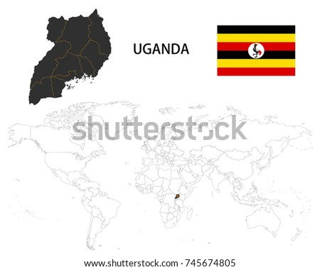 Uganda map on world map flag stock vector 745674805 shutterstock uganda map on a world map with flag on white background gumiabroncs Image collections