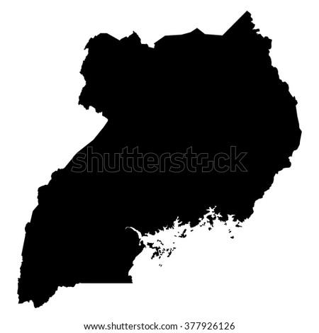 Uganda map on white background vector - stock vector