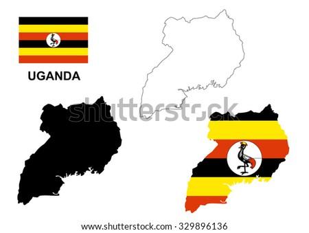 Uganda map vector, Uganda flag vector, isolated Uganda - stock vector