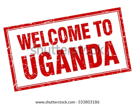 Uganda red square grunge welcome isolated stamp - stock vector