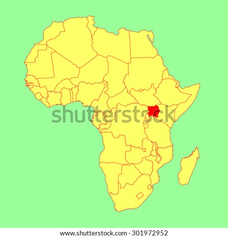 Uganda vector map isolated on Africa map. Editable vector map of Africa. - stock vector