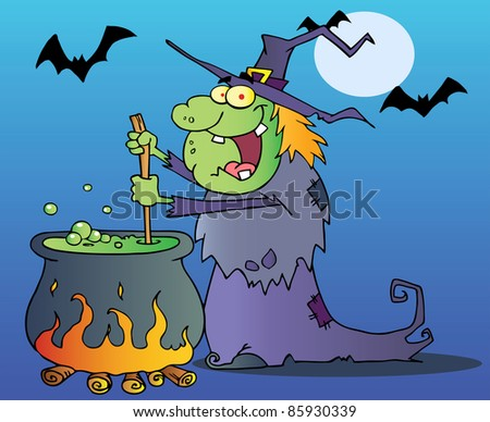 Ugly Witch Drawing Ugly Witch Preparing a Potion