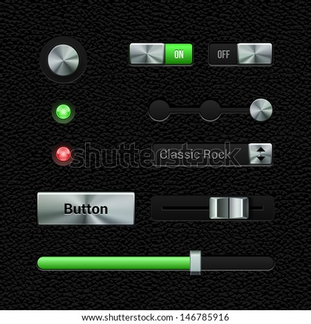 UI Application Metal Software Controls Set. Volume, Equalizer, Volume Knob Chrome. Leather. Metal Switch, Button, Lamp, Progress Bar, Select Box. Web Design Elements. Vector User Interface EPS10