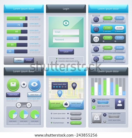 UI Design. Mobile Web UI Concept. Vector eps 10. - stock vector