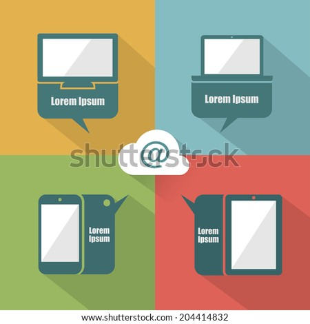 UI devices with speech bubbles - vector illustration - stock vector