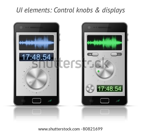 UI elements for mobile devices. Control knobs and displays. EPS 10 vector illustration - stock vector