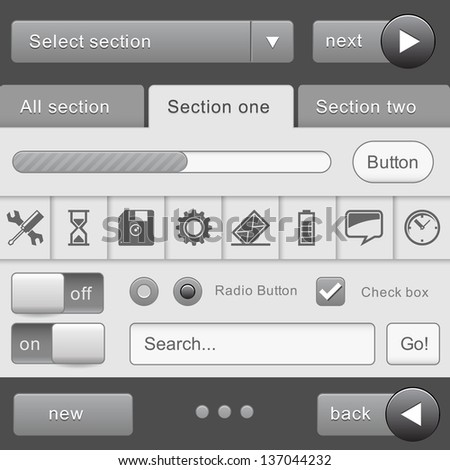 UI Elements for  tablet pc and smart phone device Design Gray. Elements: Buttons, Switchers, Slider - stock vector