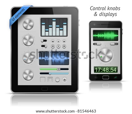 UI elements for tablets and smartphones. Control knobs and displays. EPS 10 vector illustration - stock vector