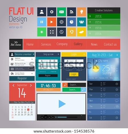 UI elements for web and mobile. Flat design. Vector - stock vector