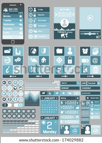 UI FLAT DESIG  COLLECTIONS 4 - stock vector