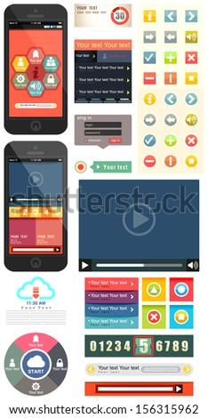 UI flat design web elements components featuring the flat design style, UI flat design  template, Vector illustrator - stock vector