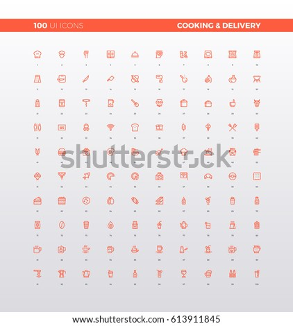 Ui icons food delivery service cooking stock vector 613911845 ui icons of food delivery service cooking recipe meal ingredients culinary elements for forumfinder Image collections