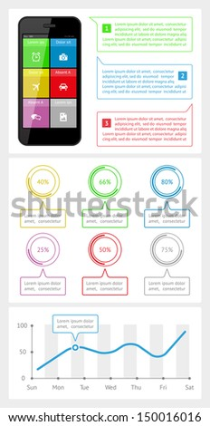 Ui, infographics and web elements including flat design. EPS10 vector illustration.  - stock vector
