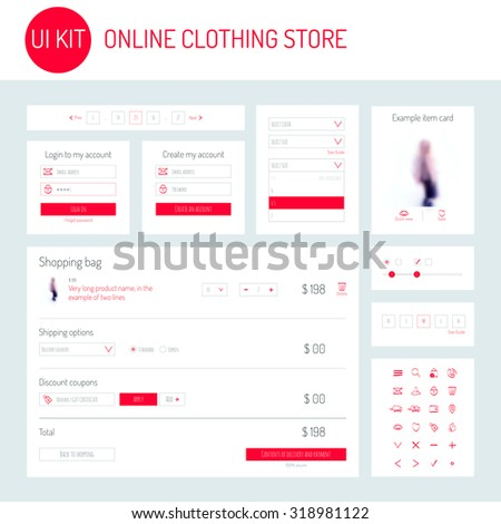 UI / UX Kit for online clothing store: icons set, login form, registration form, dropdown menu, shopping bag, example item card, range of sizes, pagination. Card product. Basket page. Vector. - stock vector