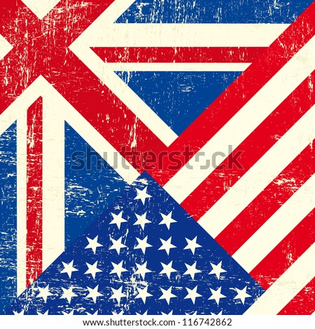 UK and american grunge flag - stock vector