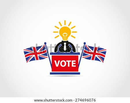 UK Brilliant Idea Solution Politician Policy Programs Speech Podium - stock vector