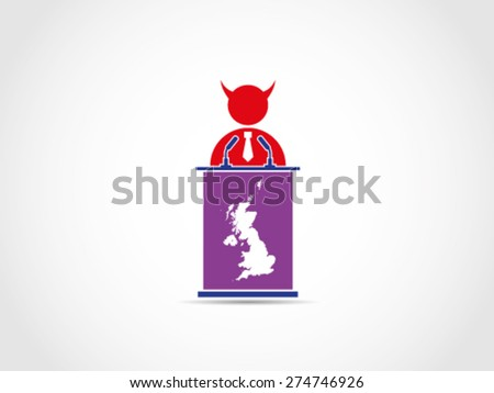UK Britain Evil Bad Corrupt Politician Speech Campaign - stock vector
