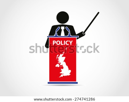 UK Britain Institution Analyze Policy - stock vector