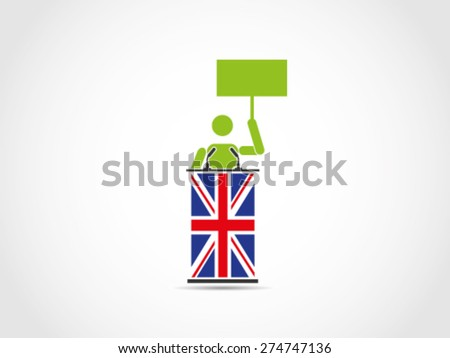 UK Britain Public Speech Protest Aspiration - stock vector