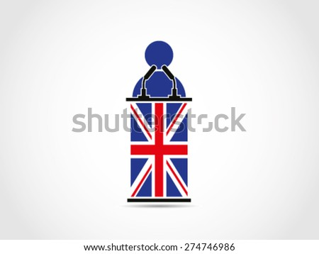 UK Britain Speech Folk People Public Speaking - stock vector