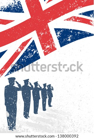 UK ,British flag saluted by soldier silhouette - stock vector