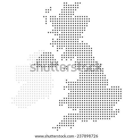UK dotted map vector - stock vector