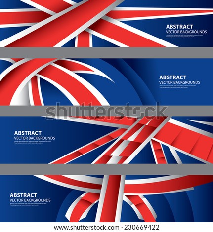 UK Flag Color Background Collection, British Style, United Kingdom Template (Vector Art)   - stock vector