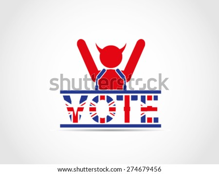 UK Great Britain Elections Evil Corrupt Supporter Speech Campaign Celebrating - stock vector