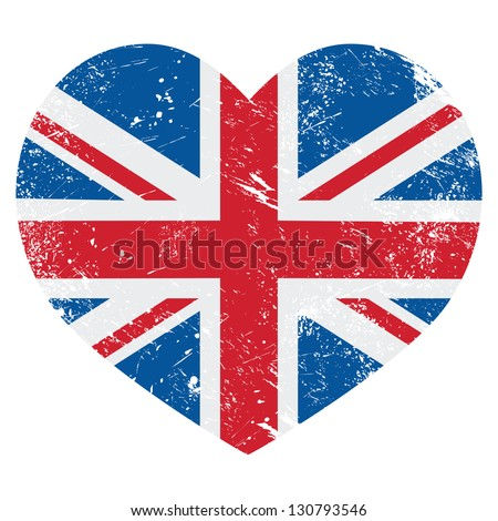 UK Great Britain retro heart flag - vector - stock vector