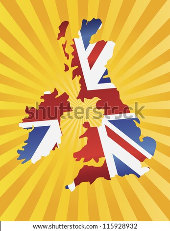 UK Great Britain Union Jack Flag in Map Silhouette with Sun Rays Background Vector Illustration