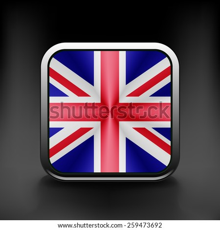 UK icon flag national travel icon country symbol button. - stock vector
