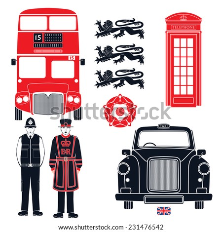 UK - London symbols  - Graphics icons - Isolated design  - Vector illustration - Silhouette - Stencil - Simplified - info - graphics style. - stock vector