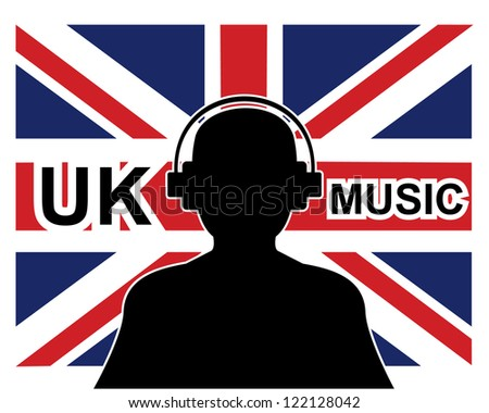 uk music concept with a silhouette of a man with headphones and united kingdom flag in background