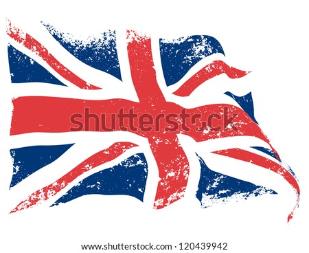 UK or Britain flag grunge waving. - stock vector