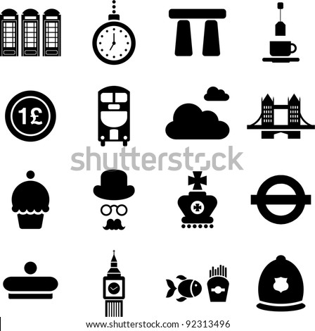 UK pictograms - stock vector