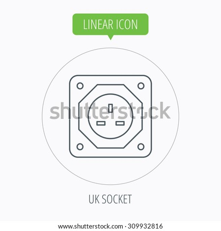UK socket icon. Electricity power adapter sign. Linear outline circle button. Vector