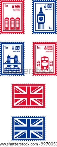UK' stamps - stock vector