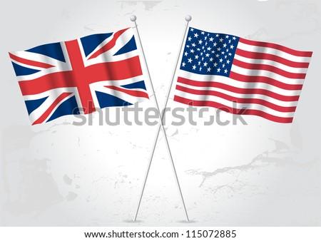 Uk united kingdom usa american flags stock vector - Uk flag images free ...