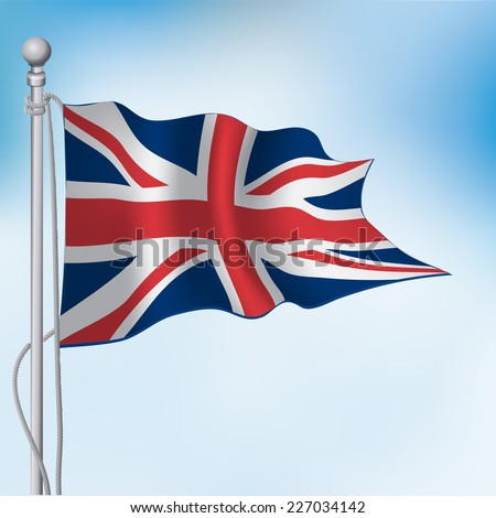 UK, United Kingdom, Union Jack flag waving in sky - stock vector