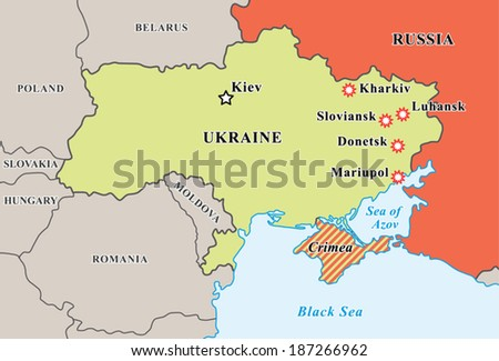 Ukraine crisis map. Pro-russians protests in the east. Riots reported in Kharkiv, Luhansk, Sloviansk, Donetsk, Mariupol. Crimea annexed to Russia. Fully editable vector graphics. - stock vector