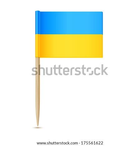 Ukraine flag toothpick - stock vector