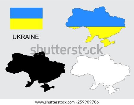 Ukraine map and flag vector, Ukraine map, Ukraine flag - stock vector
