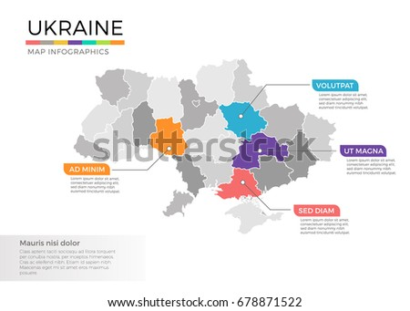 Ukraine Map Infographics Vector Template With Regions And Pointer Marks