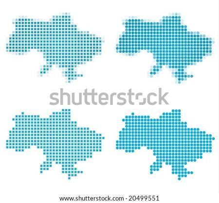 Ukraine map mosaic set. Isolated on white background. - stock vector