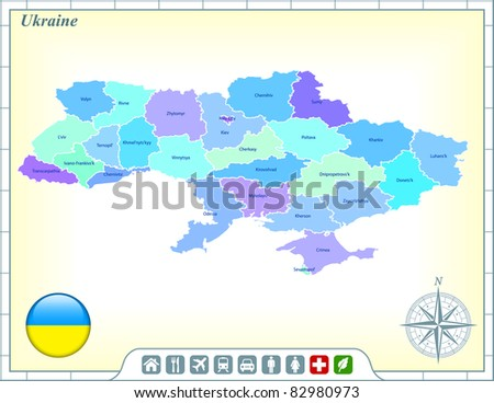Ukraine Map with Flag Buttons and Assistance & Activates Icons Original Illustration - stock vector